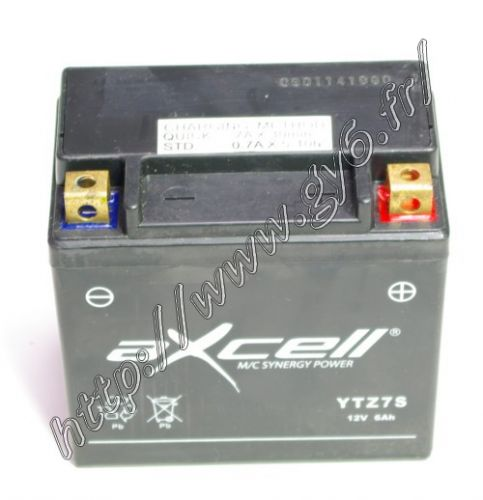gel battery AXCELL without care  YTZ7S 12 volts, 6 Ah.    Dimensions : 114mm x 69mm x 108mm (length x large x high)