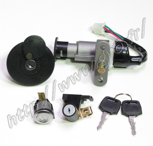 Kit  key  lock and lock cylinder, neimann type B with fuel tank cap, for some chinese scooter