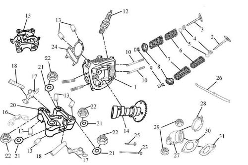 cylinder head parts gy6 - 125cc  150cc parts